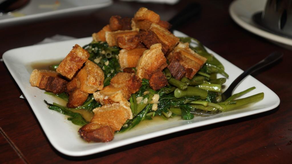 "Stir fried water spinach and ""Dragooun "" a 3-layered pork tastes like bacon!"