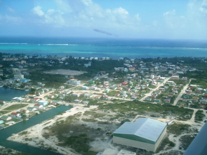 Arial view of Ambergris Caye, Belize.