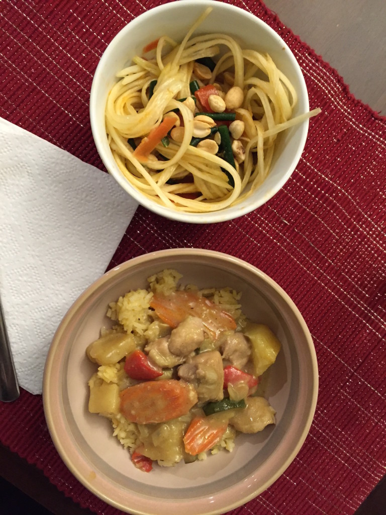 Our dinner - Massaman Curry and Papaya Salad